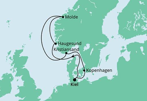 mapa AIDAnova rejs Wybrzeże Norwegii
