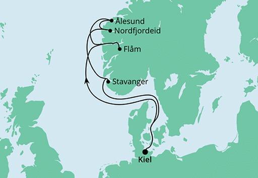 mapa AIDAnova rejs Wybrzeże Norwegii z Kilonii
