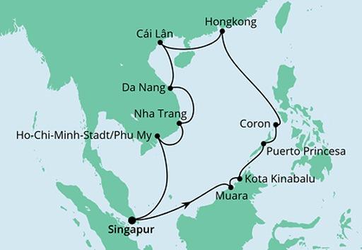 mapa AIDAcara rejs Filipiny, Hongkong i Wietnam