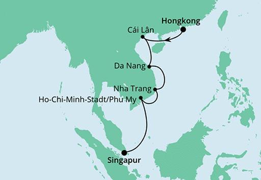 mapa AIDAcara rejs Podróż do Wietnamu