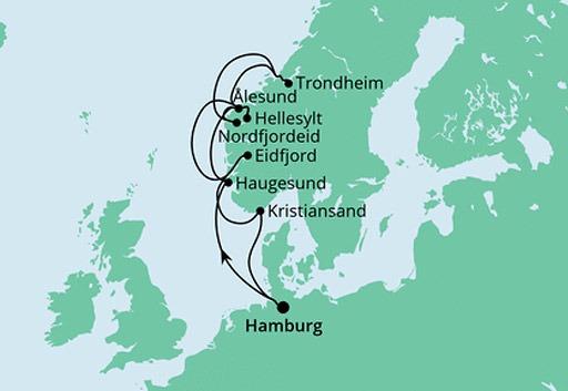 mapa AIDAsol rejs Norweskie Fiordy