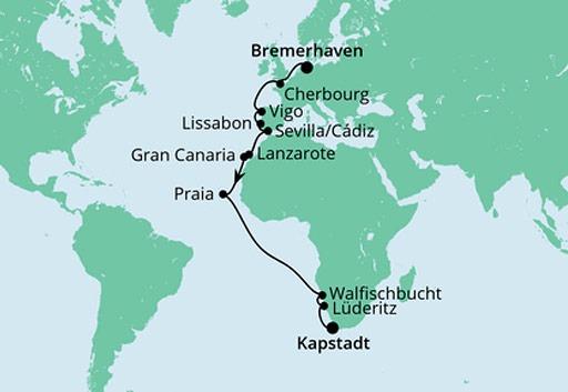 mapa AIDAaura rejs Z Bremerhaven do Kapsztadu
