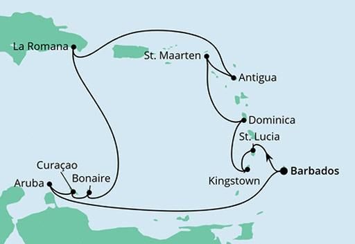 mapa AIDAperla rejs Wyspy Karaibskie z Barbadosu