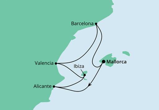mapa AIDAperla rejs Hiszpańskie Wybrzeża Morza Śródziemnego 2