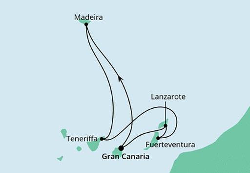 mapa AIDAcosma Wyspy Kanaryjskie i Madera z Gran Canarii
