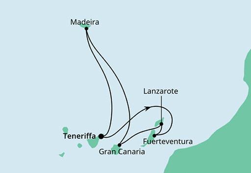 mapa AIDAcosma rejs Wyspy Kanaryjskie i Madera z Teneryfy