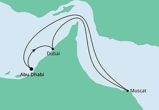 mapa AIDAnova rejs Arabskie Noce z Abu Zabi