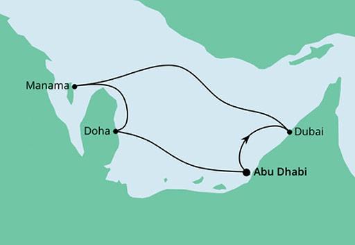 mapa AIDAnova rejs Emiraty, Bahrajn i Katar z Abu Zabi