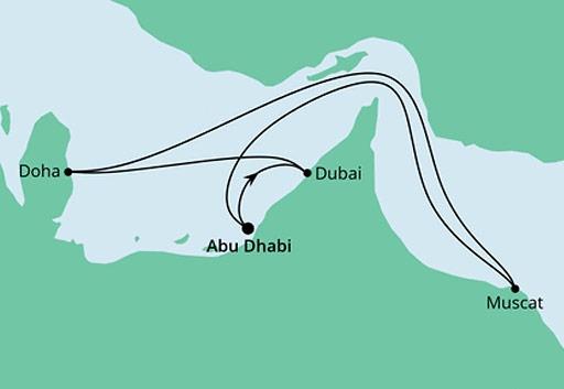 mapa AIDAnova rejs Emiraty, Katar i Oman z Abu Zabi