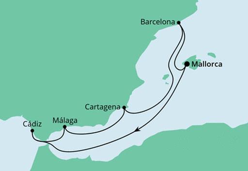 mapa AIDAperla rejs Hiszpańskie Wybrzeża Morza Śródziemnego