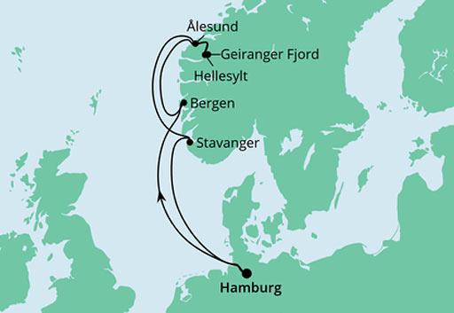 mapa AIDAmar rejs Ahoj Norweskie Fiordy