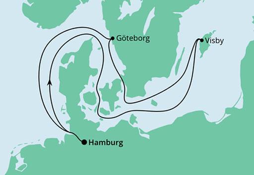 mapa AIDAmar rejs Ahoj Niemcy i Szwecja