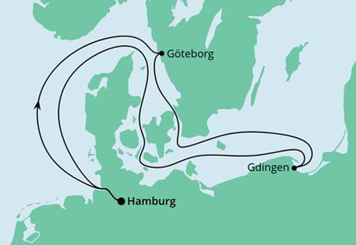 mapa AIDAmar rejs Niemcy, Szwecja i Polska