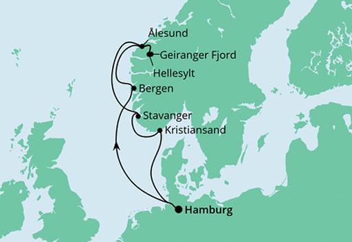 mapa AIDAmar rejs Norweskie Fiordy