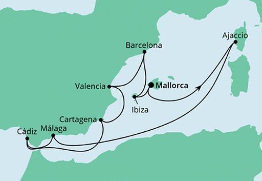 mapa AIDAstella rejs Hiszpania, Korsyka i Baleary