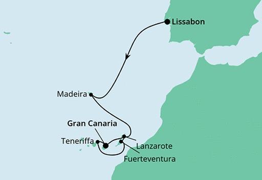 mapa AIDACosma rejs Sylwestrowy z Lizbony na Gran Canarię