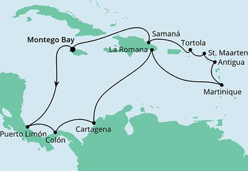 mapa AIDAluna rejs Karaiby i Ameryka Środkowa z Jamajki