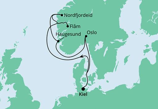 mapa AIDAnova Dostojne Fiody Norwegii