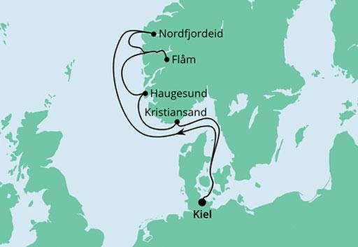mapa AIDAnova rejs Norweskie Bogactwo Natury