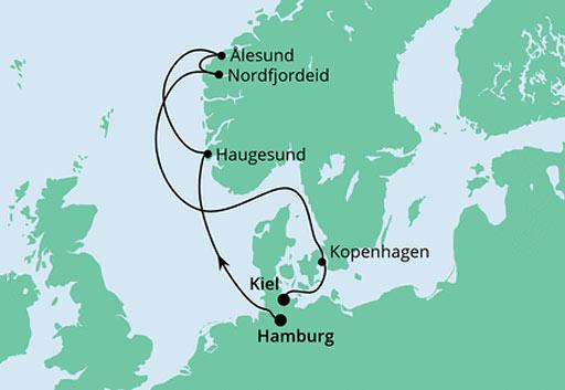 mapa AIDAnova rejs Norweskie Fiordy