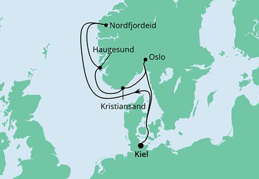 mapa AIDAnova rejs Norweskie Legendy