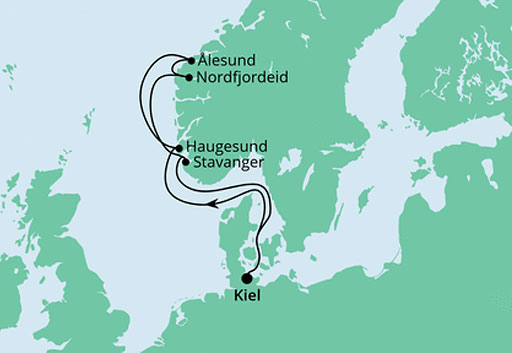 mapa AIDAnova rejs Wybrzeże Norwegii II
