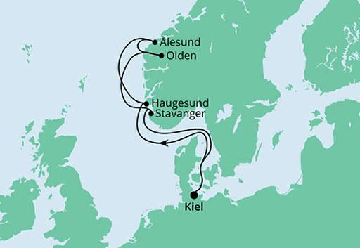 mapa AODAnova rejs Wybrzeże Norwegii I